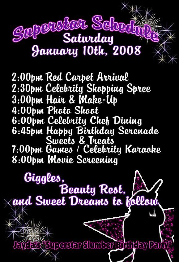 Fun Themes & Celebrations » Superstar Birthday Schedule – Itinerary