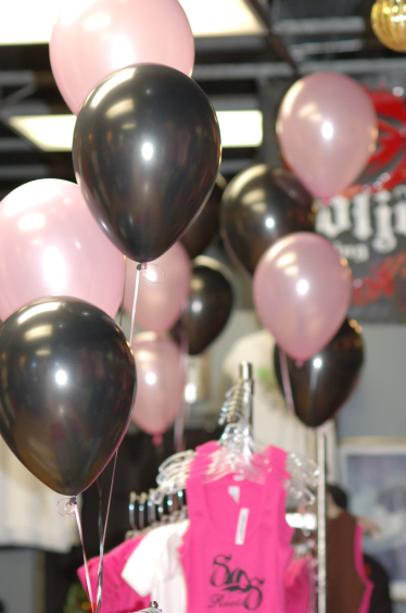 Solid clothing co balloon decorations pink and black