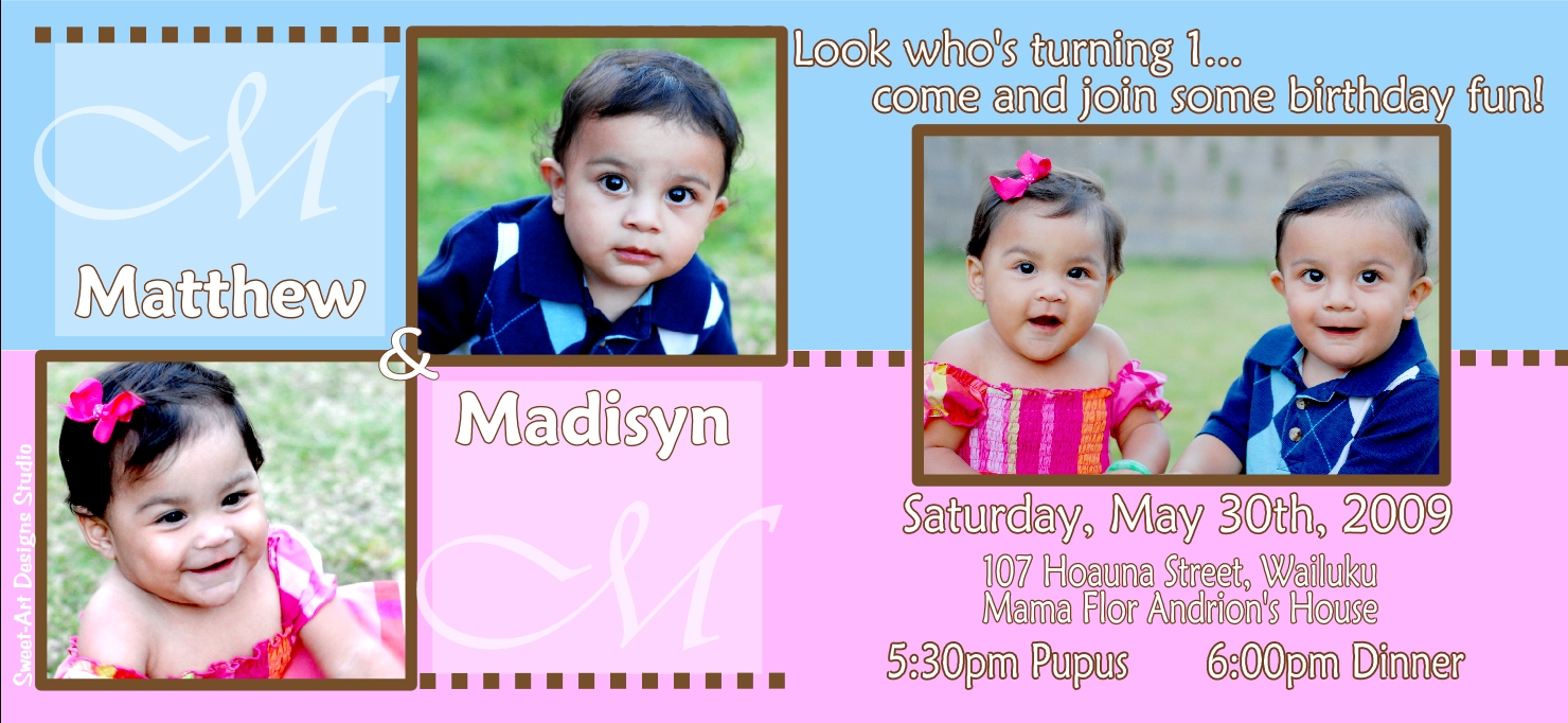 Twins – First Birthday Invitation – M & M | Sweet-Art Designs ...