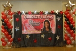 Graduation Banner - Stage Decorations - Balloon Columns - Silver Star Balloons