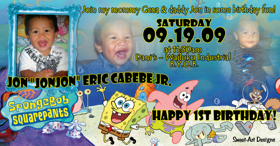 1st birthday spongebob squarepants invitation sweet art designs 1st birthday spongebob squarepants invitation filmwisefo