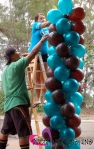chocolate brown & teal balloon theme column 0099