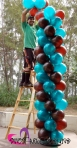 chocolate brown & teal party balloon column 0105