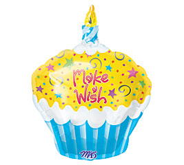 "18"" Make a Wish Cupcake Mylar Balloon"