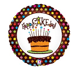 "18"" Happy Birthday Cake Day holographic foil balloon"