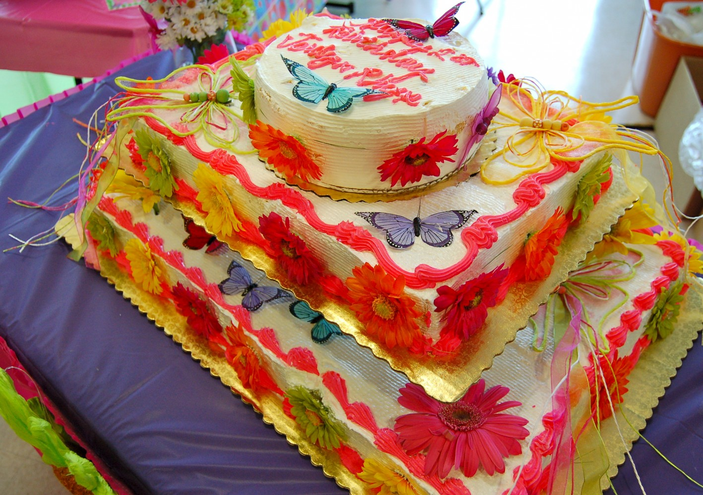 Butterfly Flowers First Birthday Cake DSC1654 SweetArt Designs