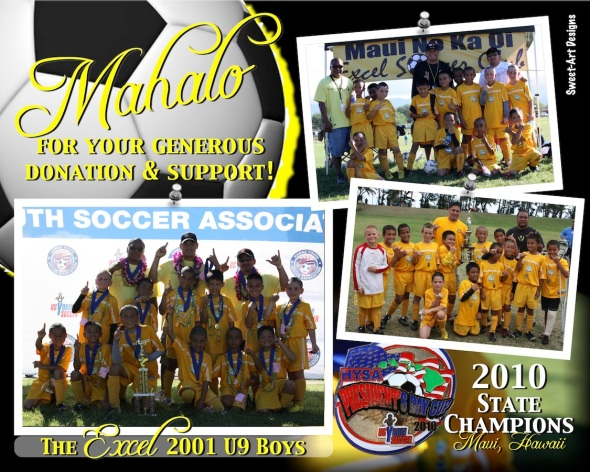 Thank You Cards - State Champions - Excel Soccer 2001 U9 Boys, Maui, Hawaii