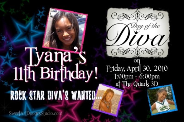 Rock Star Diva Birthday Invitation