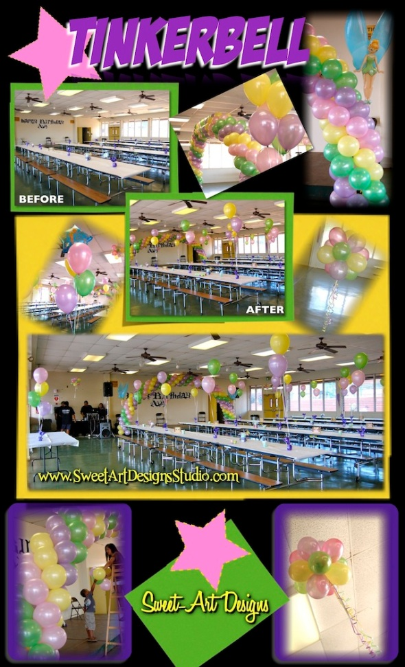 Tinkerbell Birthday Party Balloon Decor Arch Maui