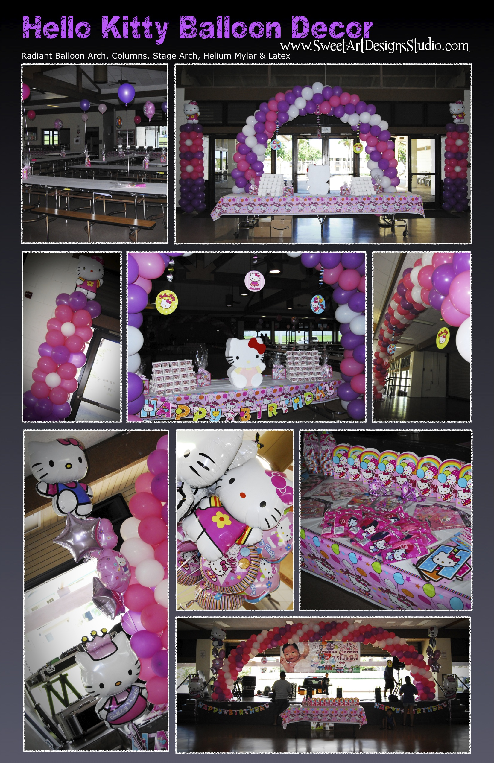 Hello Kitty Birthday Decor Pink Purple & White Balloons