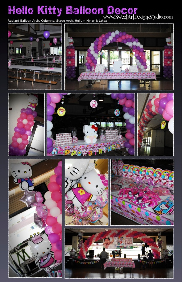 Hello Kitty Balloon Decor (pink, purple, white) Maui