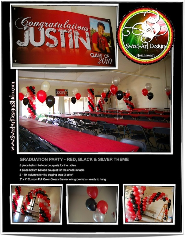 Maui Graduation Party Decorations - Balloons Red, Black & Silver