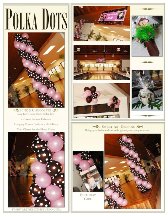 Polka Dots Balloon Decor Maui (Pink & Brown Party Theme)