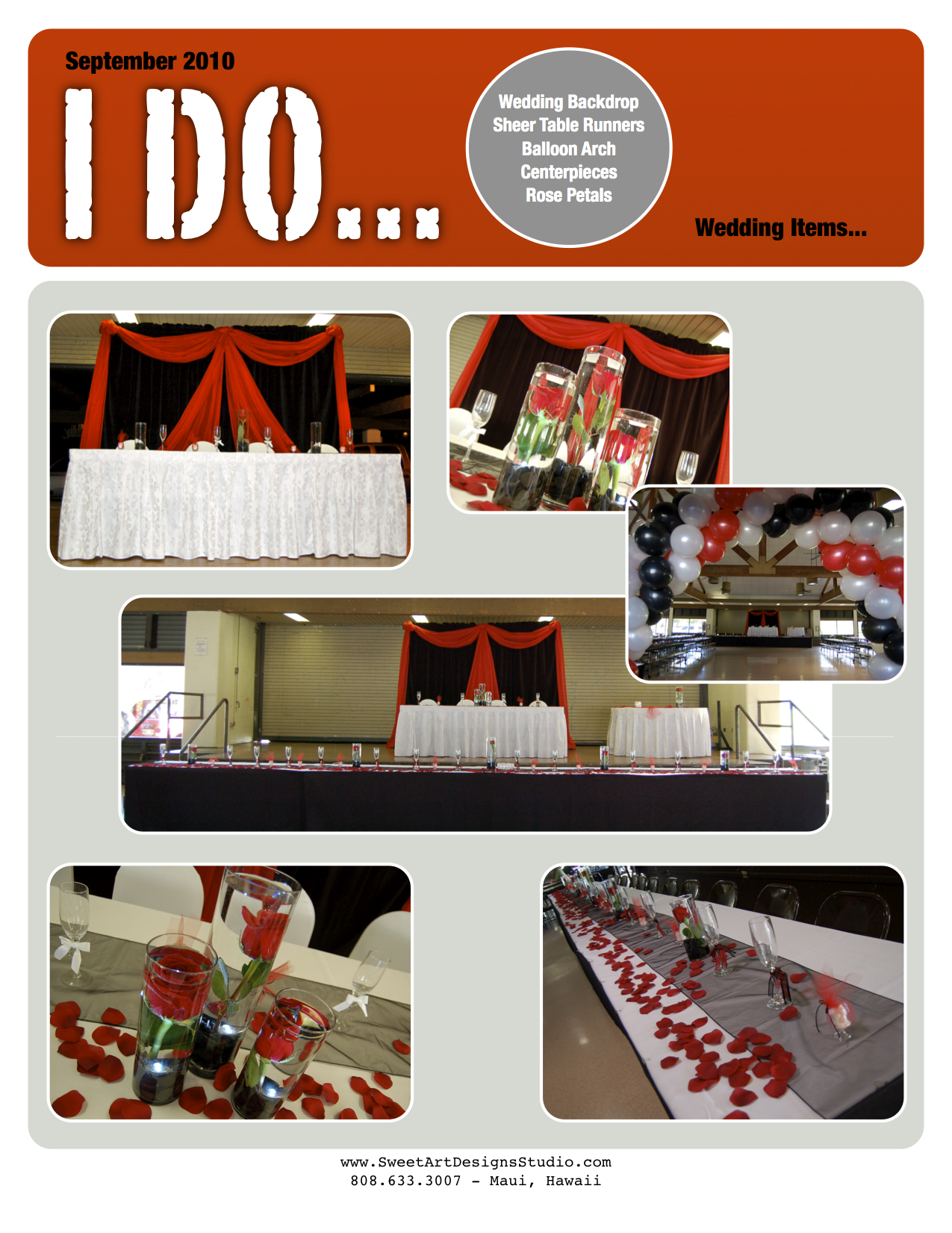 Wedding Black Red White Backdrop Balloon Arch And More