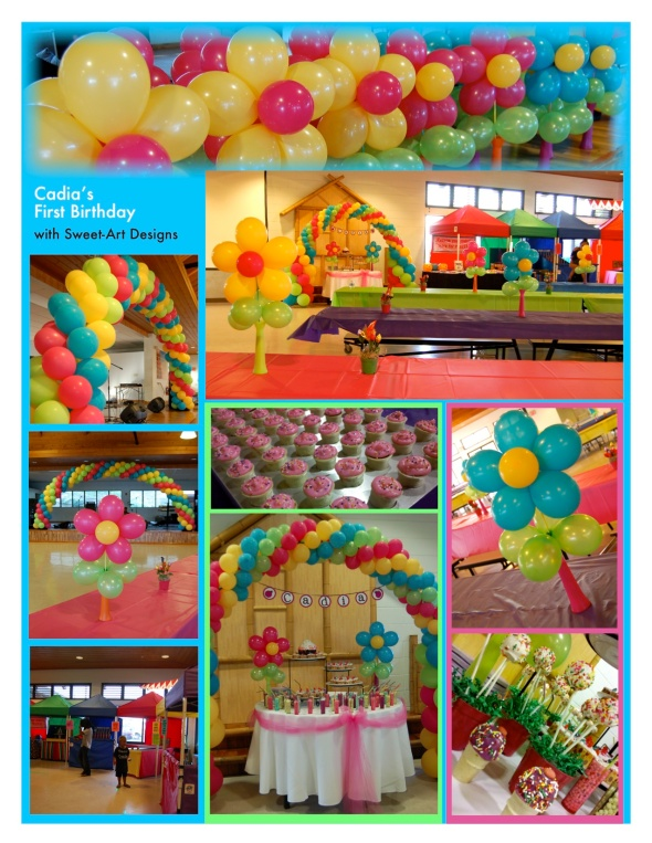 Cupcakes & Flowers First Birthday - Balloon Arch Decorations