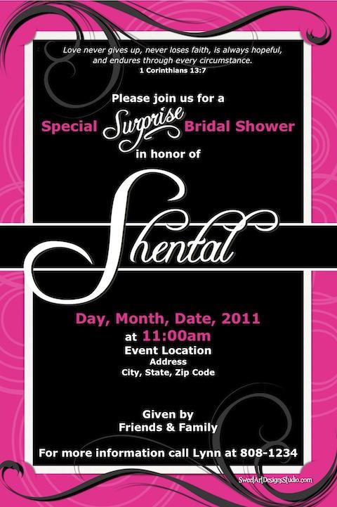 bridal shower invitation hot pink black