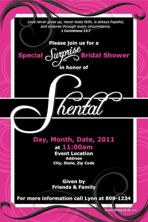 Bridal Shower Invitation - Hot Pink & Black