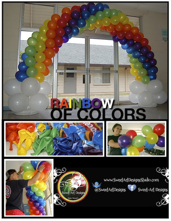 Rainbow of colors balloon arch sweet art designs for Balloon arch decoration ideas