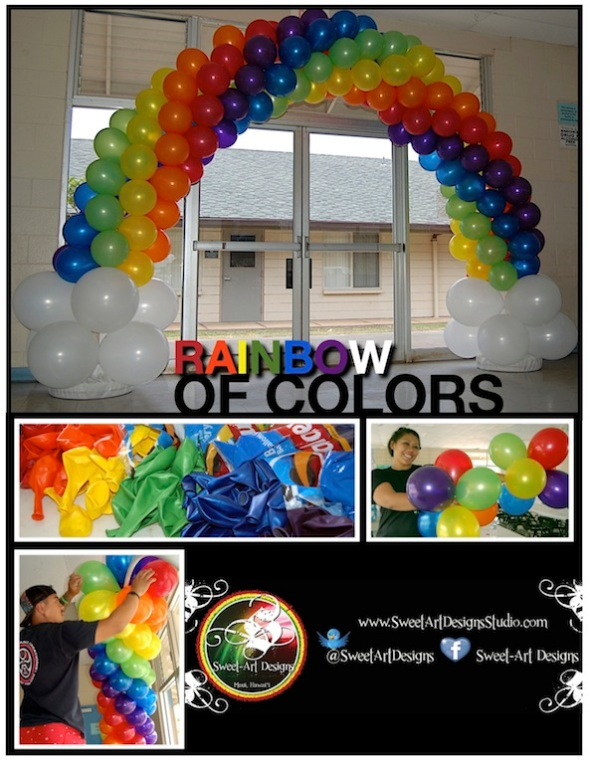 Rainbow Balloon Arch - Sweet-Art Designs Maui