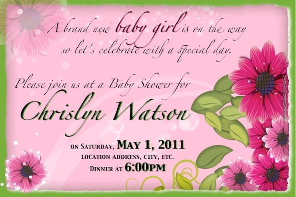 Baby Shower Invitation - It's a Girl Flowers - Hot Pink & Lime Green