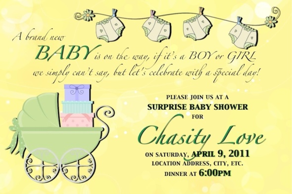 Baby Shower Baby Carriage Invitation - Green & Yellow