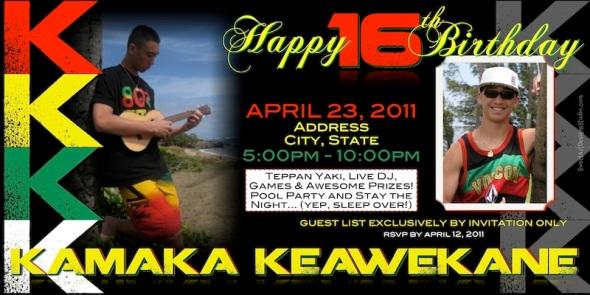 Sample 4 x 8 Kamaka - 16th Birthday invitation