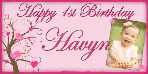 Pink Birthday Banner Design Singing Birds